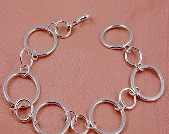 Sterling Silver Flat Circles Bracelet