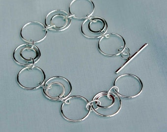 Circles in Circles Sterling Silver Bracelet