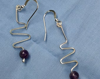 Amethyst Z Swirl Earrings