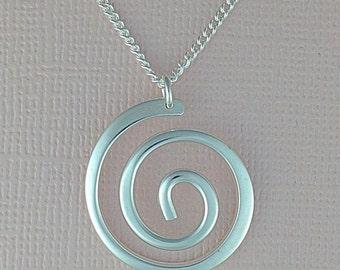 Dommed Scroll Sterling Silver Pendant