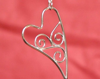 Wave Scroll Heart Sterling Silver Pendant