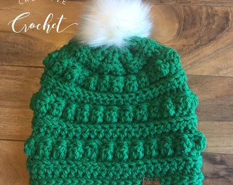 Kelly Green Crochet Hat // Faux Fur Pom Hat // Gifts for her // Adult Hat // Bobble Hat // St Patrick's Day //