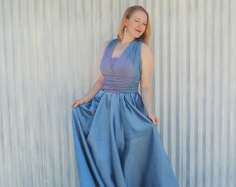 Silk Infinity Dress // Convertible Maxi Bridesmaids Dress // Custom Made in Blue, Red, Purple, Black, or Natural - Made to order in ANY SIZE