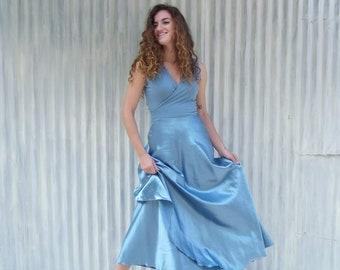 e1b26ae5d5 Silk Maxi Wrap Dress - Custom Made with Hemp Silk Charmeuse - Organic  Cotton Jersey Bodice - Red