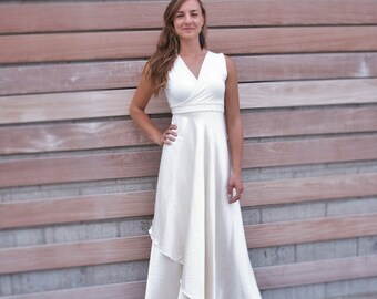 e7442d1d5901 Silk Wedding Wrap Dress with Custom Sleeve Length - Elegant Simple  Affordable and Great for Plus Size, Nursing, Maternity, Petite