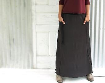 Bamboo Fleece Maxi Pocket Pencil Skirt // Warm Winter Skirt // Handmade in Michigan by Yana Dee Ethical Apparel