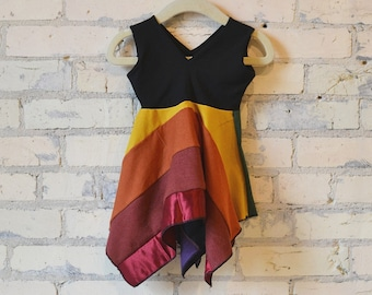 dc060a2bd 6-18 Month Rainbow Patchwork Handkerchief Sleeveless Square Dress //  Perfect for Pride Celebration & Parades // Fun and Funky Summer Dress!