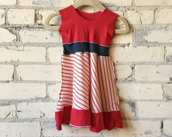 dedd76065 Sailor Baby Dress - Organic Cotton Jersey Red and White Stripe Dress for 6-18  Months - Cute Ruffle - Matchy Matchy Mom Dress Available