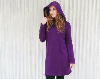 Hooded Fleece Sweater Dress // Made from Hemp & Organic Cotton // Great for Fall and Winter // Handmade in Michigan by Yana Dee