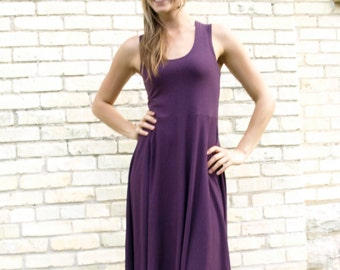 Lightweight Organic Cotton Racerback Summer Dress - Custom Made in Many Colors by Yana Dee