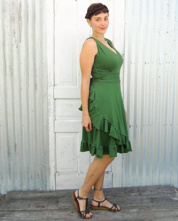 cdfe9e5cbe1 Organic Cotton Ruffle Wrap Dress Formal Bridesmaid