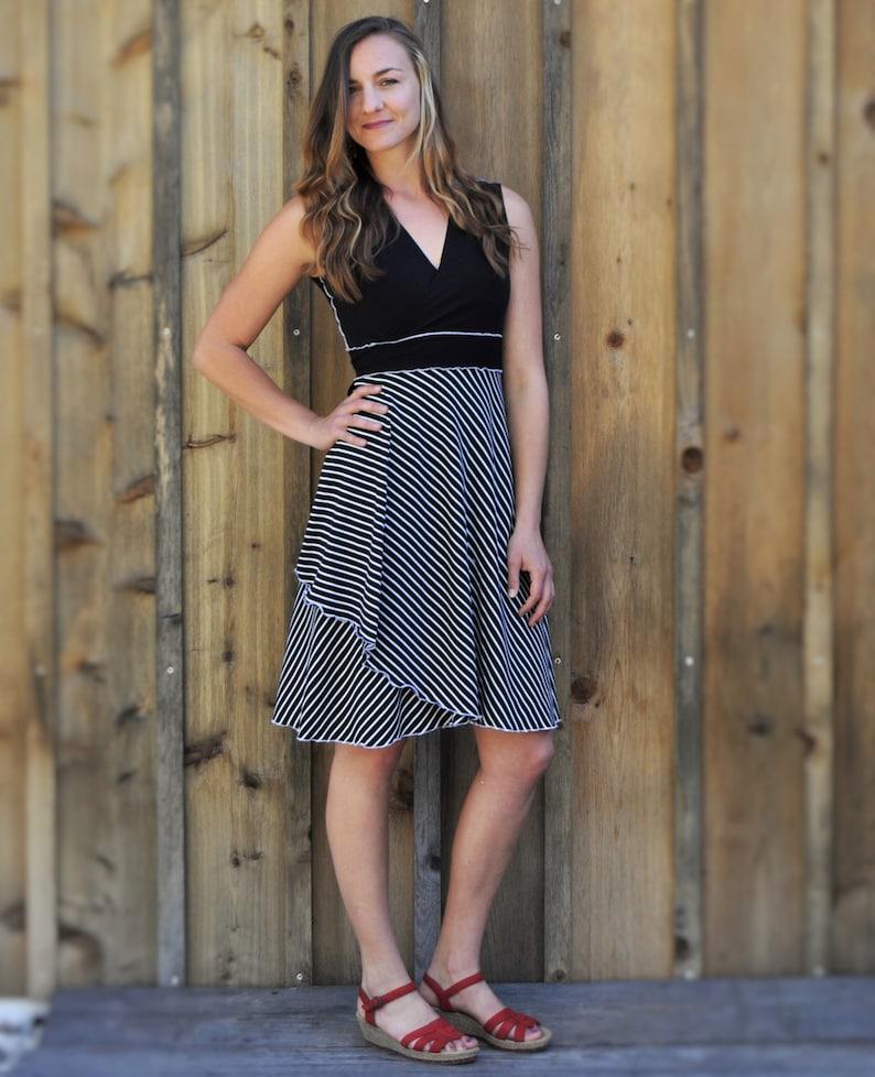 7c72e4f1b92 Organic Cotton Black   White Striped Wrap Dress Midi Dress