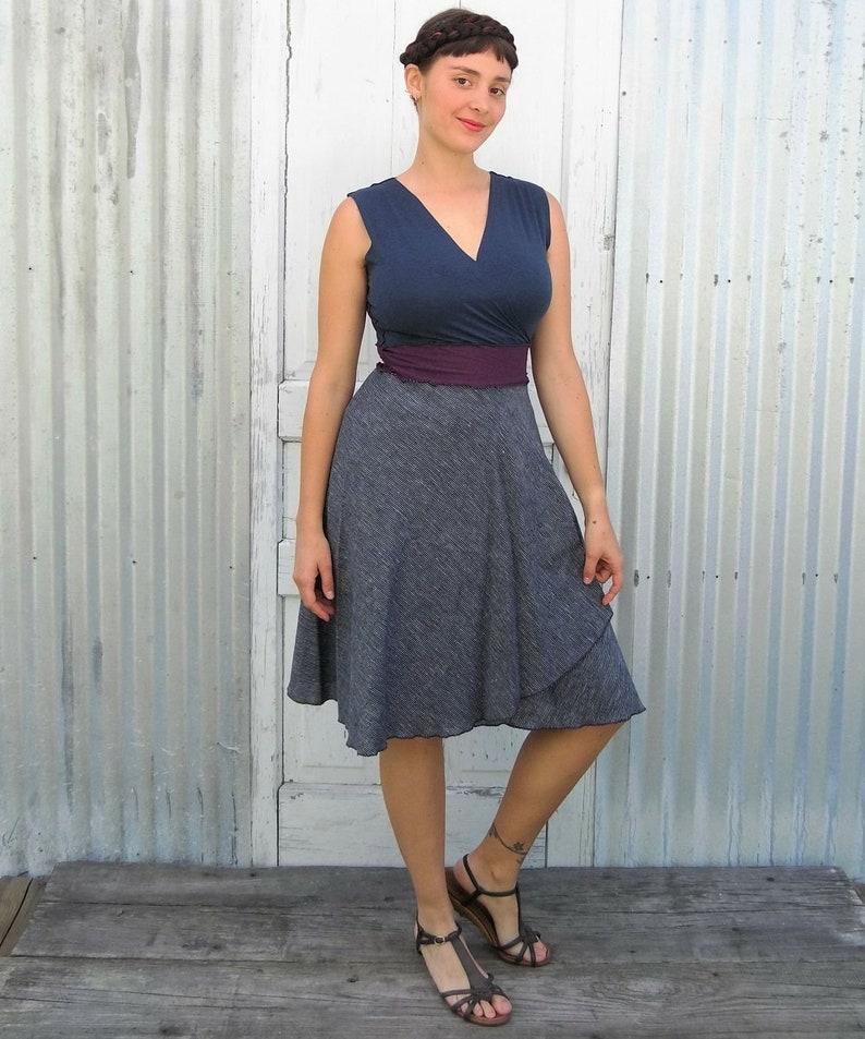 eed1927f86b Navy Wrap Dress Made with Organic Cotton   Hemp Ticking Fabric