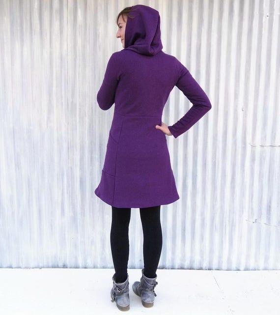 Bio Fleece Zip Hoody mit Taschen Kapuzen Sweatshirt Dress Verschleiß als Kleid oder Mantel Maß gewachsen, auf Bestellung in den USA