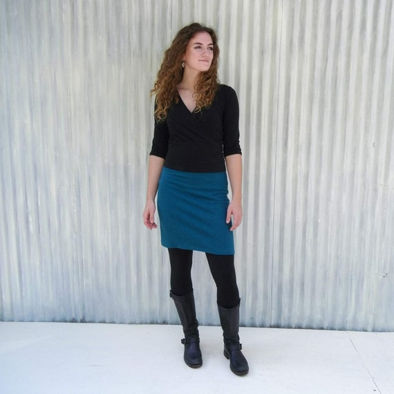 Above The Knee Handmade Skirt  Made From Organic Cotton Hemp /& Lycra Jersey  Faux-Wrap and Mid-Weight  Handmade by Yana Dee