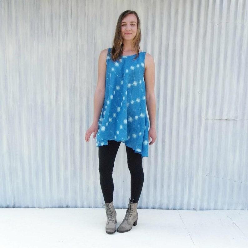 87949394126 Lightweight Linen Pocket Dress Bright Blue with White Polka