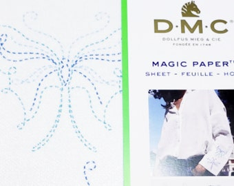 DIY Style Embroidery, DMC 2 Butterflies and Bird, Magic Paper Sheet- Adhesive Template, Stencil with Instrutions and Techniques,Pre-Printed