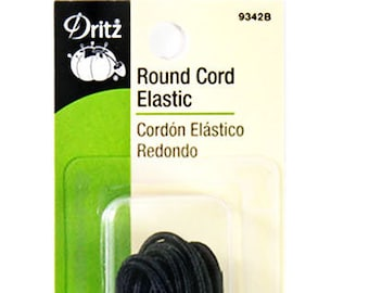 Round Black Cord Elastic 5 Yards, Stretch Elastic 9342B Dritz Durable Waterproof Elastic for masks, 100% Cotton, Willl Not Melt, Made in USA