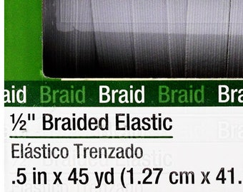 "Thin White Flat Elastic 12.7 mm (1/2"" Elastic) in 1-Yard Increment, Will Not Melt, .50"" inch 9430W Dritz Braided Elastic- Will Not Melt"