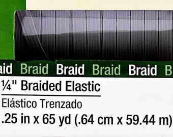 "Thin White Flat Elastic 6.3 mm (1/4"" Elastic) in 1-Yard Increment, Will Not Melt, .25"" inch 9430W Dritz Braided Elastic- Will Not Melt"