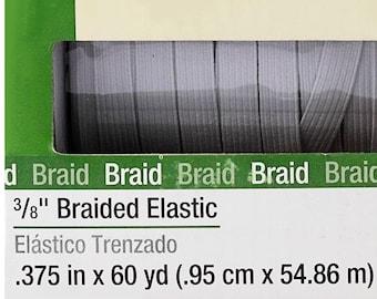 "Thin White Flat Elastic 9.53 mm (3/8"" Elastic) in 1-Yard Increment, Will Not Melt, .375"" inch 9431W Dritz Braided Elastic- Will Not Melt"