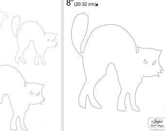"""One Dollar Adobe PDF Download and Unlimited Print! SHAPES-Cats_22  2"""", 4"""", 6"""",8"""" Trace, Template, Guide, Color, Cut-out, Applique,Silhouette"""