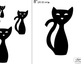 """One Dollar Adobe PDF Download and Unlimited Print! SHAPES-Cats_25  2"""", 4"""", 6"""",8"""" Trace, Template, Guide, Color, Cut-out, Applique,Silhouette"""