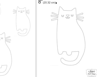 """One Dollar Adobe PDF Download and Unlimited Print! SHAPES-Cats_20  2"""", 4"""", 6"""",8"""" Trace, Template, Guide, Color, Cut-out, Applique,Silhouette"""