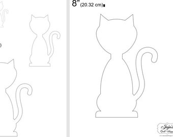"""One Dollar Adobe PDF Download and Unlimited Print! SHAPES-Cats_26  2"""", 4"""", 6"""",8"""" Trace, Template, Guide, Color, Cut-out, Applique,Silhouette"""