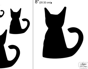 """One Dollar Adobe PDF Download and Unlimited Print! SHAPES-Cats_19  2"""", 4"""", 6"""",8"""" Trace, Template, Guide, Color, Cut-out, Applique,Silhouette"""