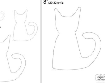 """One Dollar Adobe PDF Download and Unlimited Print! SHAPES-Cats_18  2"""", 4"""", 6"""",8"""" Trace, Template, Guide, Color, Cut-out, Applique,Silhouette"""