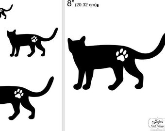 """One Dollar Adobe PDF Download and Unlimited Print! SHAPES-Cats_29  2"""", 4"""", 6"""",8"""" Trace, Template, Guide, Color, Cut-out, Applique,Silhouette"""