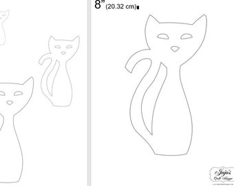 """One Dollar Adobe PDF Download and Unlimited Print! SHAPES-Cats_24  2"""", 4"""", 6"""",8"""" Trace, Template, Guide, Color, Cut-out, Applique,Silhouette"""