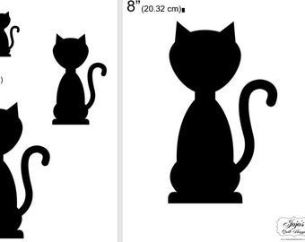 """One Dollar Adobe PDF Download and Unlimited Print! SHAPES-Cats_27  2"""", 4"""", 6"""",8"""" Trace, Template, Guide, Color, Cut-out, Applique,Silhouette"""