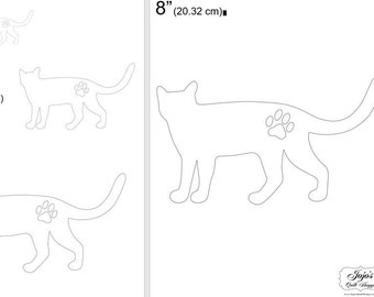 """One Dollar Adobe PDF Download and Unlimited Print! SHAPES-Cats_28  2"""", 4"""", 6"""",8"""" Trace, Template, Guide, Color, Cut-out, Applique,Silhouette"""