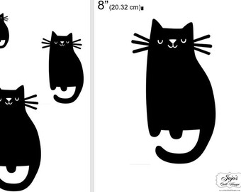 """One Dollar Adobe PDF Download and Unlimited Print! SHAPES-Cats_21  2"""", 4"""", 6"""",8"""" Trace, Template, Guide, Color, Cut-out, Applique,Silhouette"""