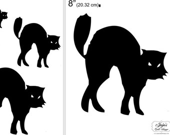 """One Dollar Adobe PDF Download and Unlimited Print! SHAPES-Cats_23  2"""", 4"""", 6"""",8"""" Trace, Template, Guide, Color, Cut-out, Applique,Silhouette"""