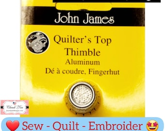 John James Thimble Nickel Plated Steel Crimp Top Sizes: Small, Medium, Large, Made in Spain (Colonial Needle) # JJ0635