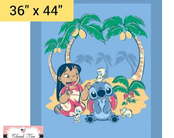 """Disney Lilo n Stitch Fabric, Sew or Embroider Panel SPR70284 Lilo & Friends Panel 36"""" x 44"""", 100% Cotton by Springs Creative"""