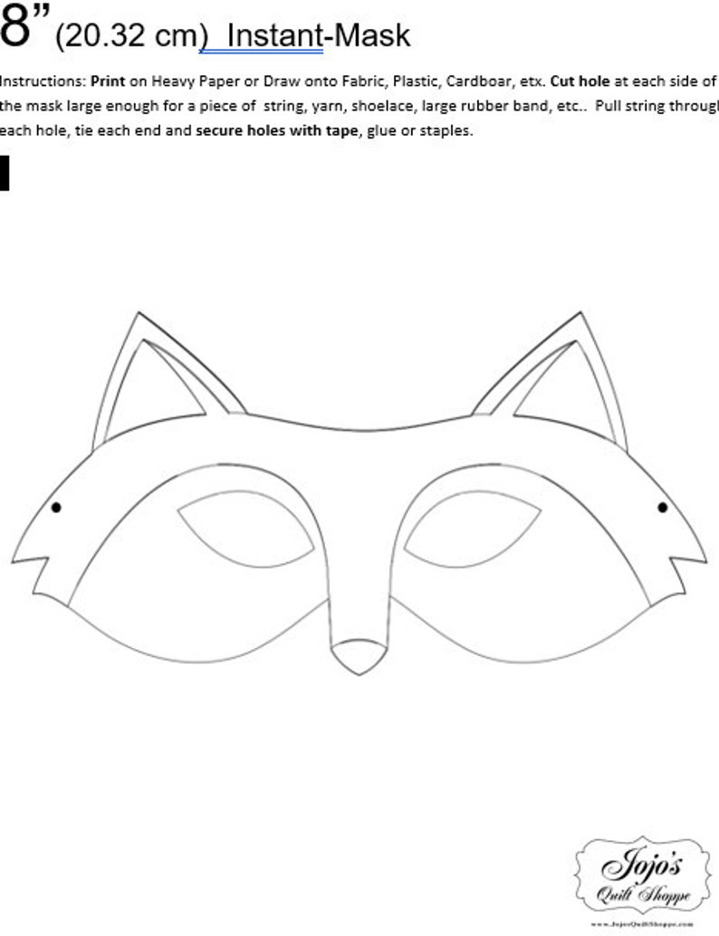 One Dollar Adobe PDF Download and Unlimited Print MASK-Fox_1 image 0