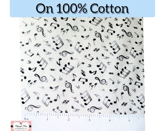 Ombre Music Notes Small Print, grey to black on Cream, 100% Cotton Fabric by the Yard, by Elizabeth's Studio sku#148Cream Sew,Mask,Quilt