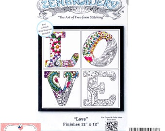 """Love, Design Works/Zenbroidery DIY Easy Stamped Embroidery Kit 11.5"""" in. X 11.5"""" in. image,  Fabric is 17"""" in x 17"""" in 4038 Made in USA"""