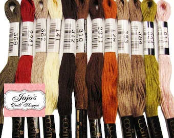 Cosmo Lecien Embroidery {No.25) Floss/Thread 8.75 yards (8 meters) 6 strand skein #2512.  Vintage Christmas  Assorted Set of 12 colors.