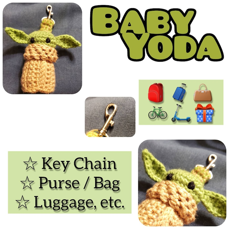 Mandalorian Movie Baby Yoda Keychain Soft Crochet  Toy image 0