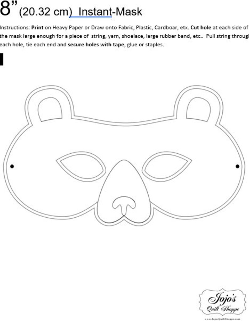 One Dollar Adobe PDF Download and Unlimited Print MASK-Bear_1 image 0