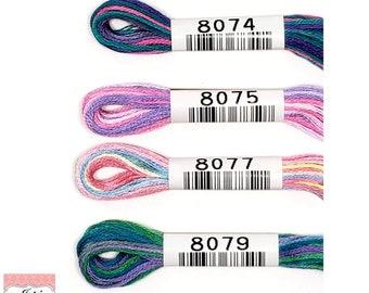 Cosmo Lecien Seasons (8000's) Variegated Embroidery{No.25) Floss/Thread 8.75 yards (8 meters) 6 strand skein Sets[Orange,Blue,Purple,Multi]