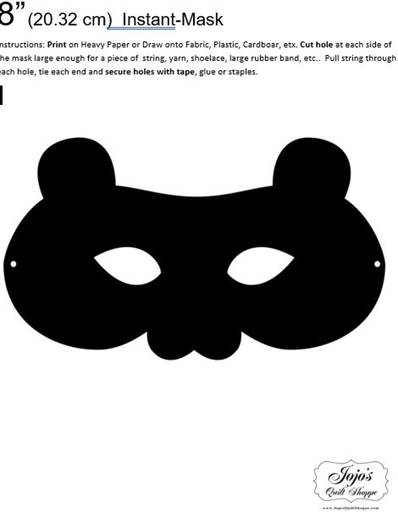 One Dollar Adobe PDF Download and Unlimited Print MASK-Bear_2 image 0