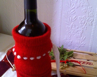 Handknit Wine Tote - Red with White Tie
