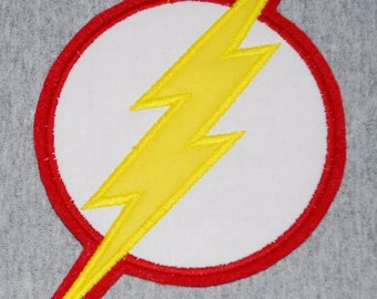 Custom Handmade Lightning Bolt Flash Superhero Embroidered Applique Sew On Patch