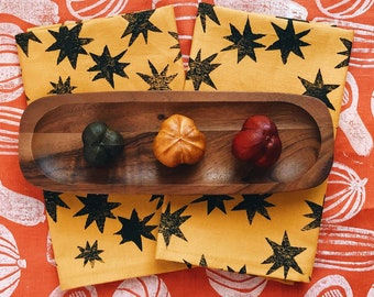 linen napkin set. mustard stars. hand block printed / placemats / tea towel. boho decor. organic. astrology. hostess. gift. spring summer.